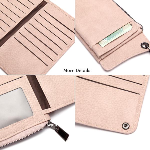 Woman Faux Leather Phone Wallet 13 Card Slots Wristlet Purse