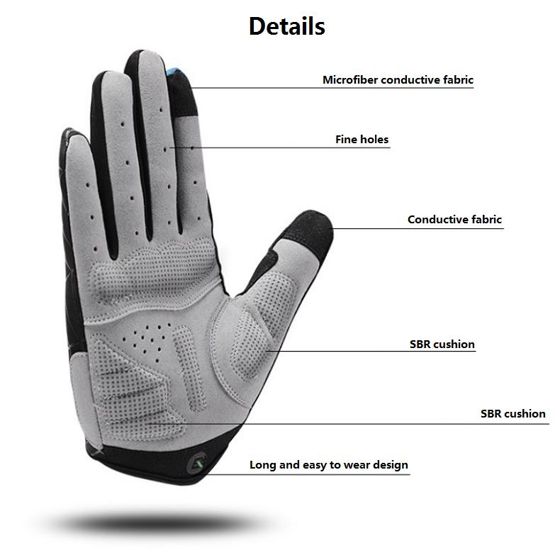 RockBros Cycling Long Full Finger Winter Warm Touch Screen Gloves-Cobweb Style