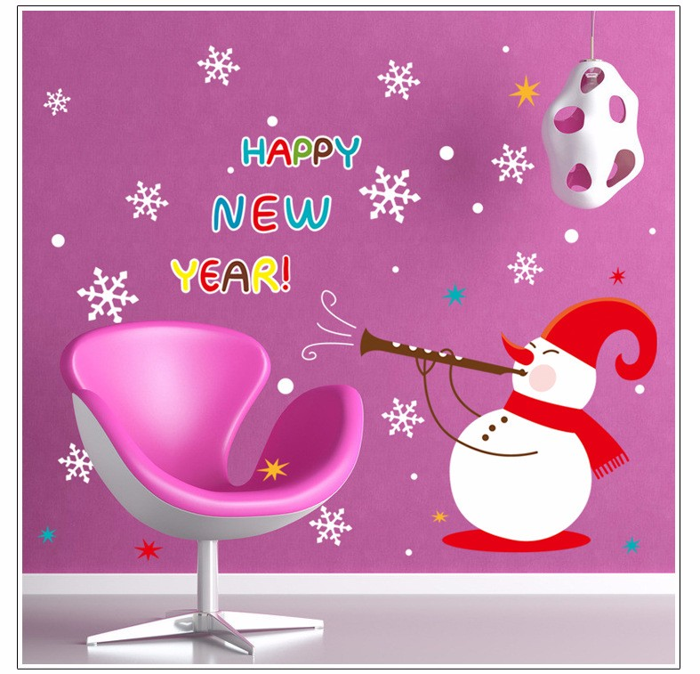 Happy New Year Snowman Christmas Removable DIY Window Wall Sticker Home Party Decoration