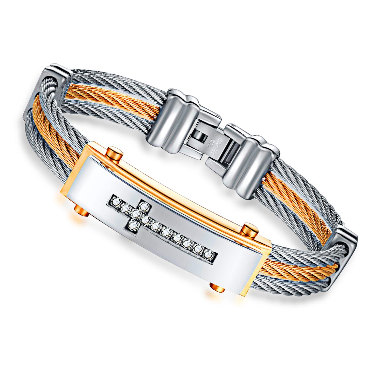 Classic Diamond Cross Charm Bracelet Stainless Steel Ba
