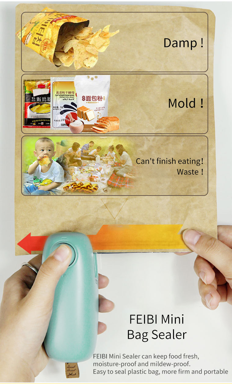 FEIBI Food Sealer Mini Portable Hand Press Heat Sealing Machine Bag Sealer Seal Machine Plastic Bags Sealing Tools
