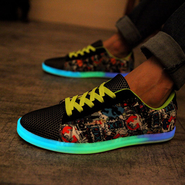 Unisex Luminous Sneakers Pattern Matching Lace Up Round Toe Couple Light Up Sneakers