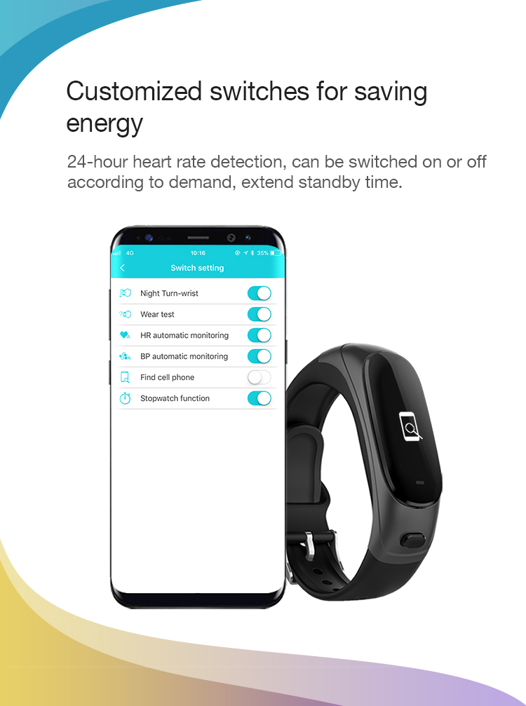 Bakeey V08 bluetooth Headset Blood Pressure Heart Rate Monitor Fitness Tracker Smart Wristband