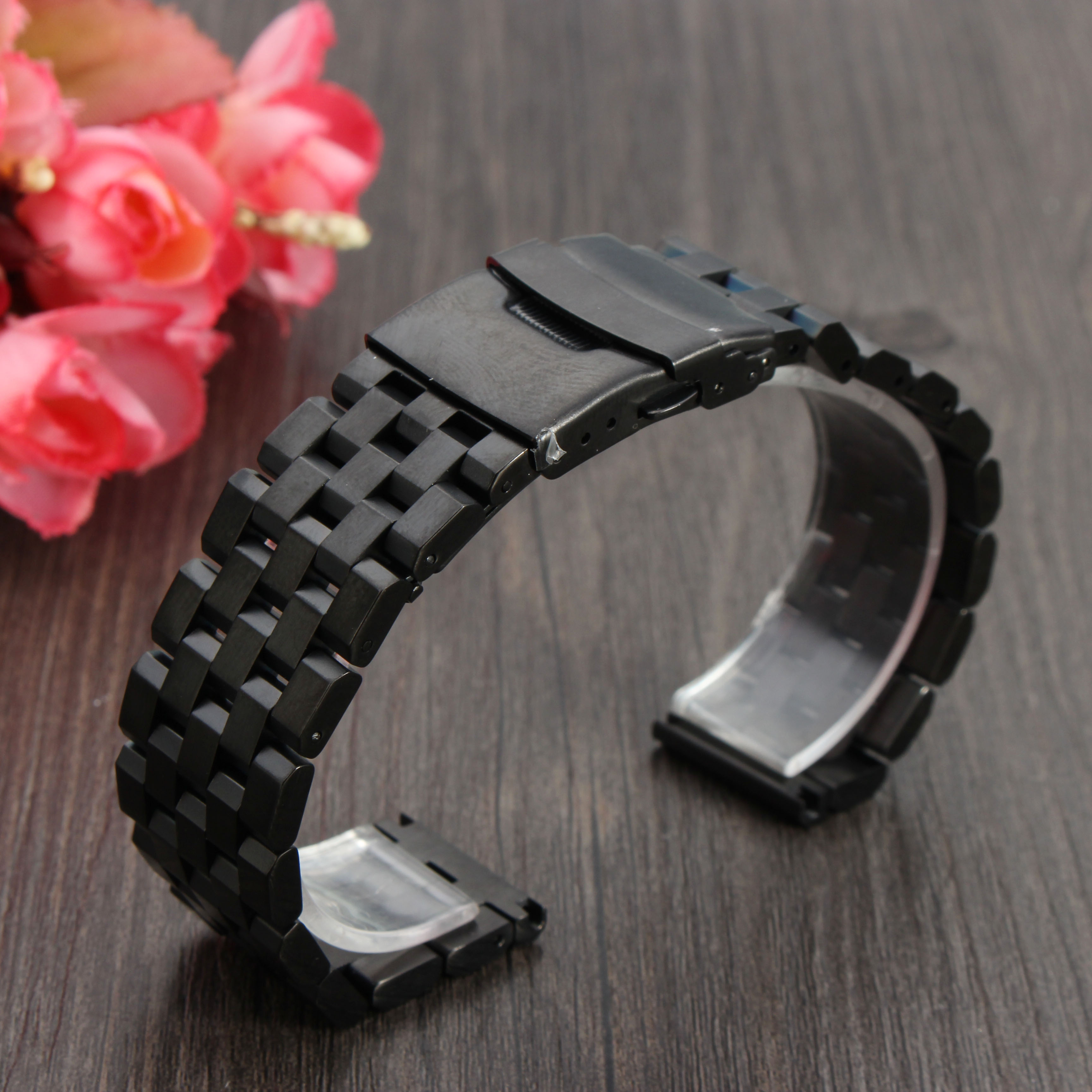20/22/24mm Stainless Steel Strap Straight End Metal Bracelet Wrist Watch Band