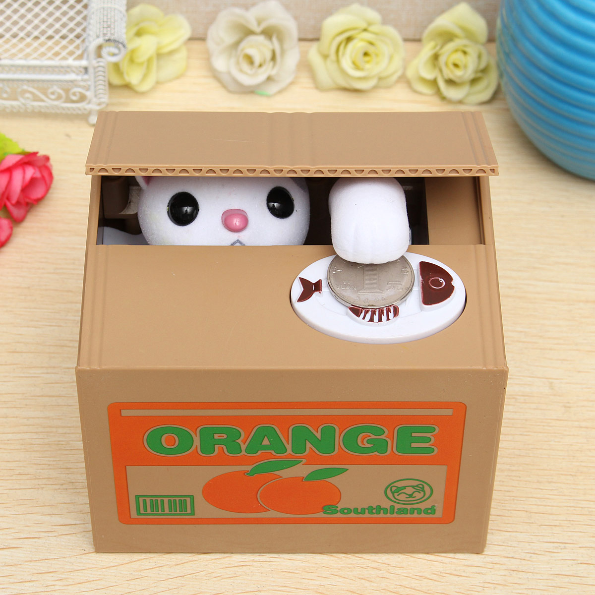 Automated Itazura Cat Steal Coin Piggy Bank Saving Money Box Kids Toy