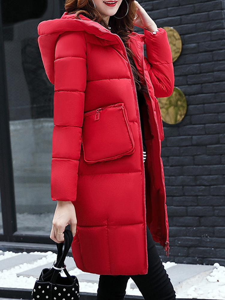 Solid Color Women Hooded Full-Zip Long Sleeve Thick Warm Coat with Zipper Pockets