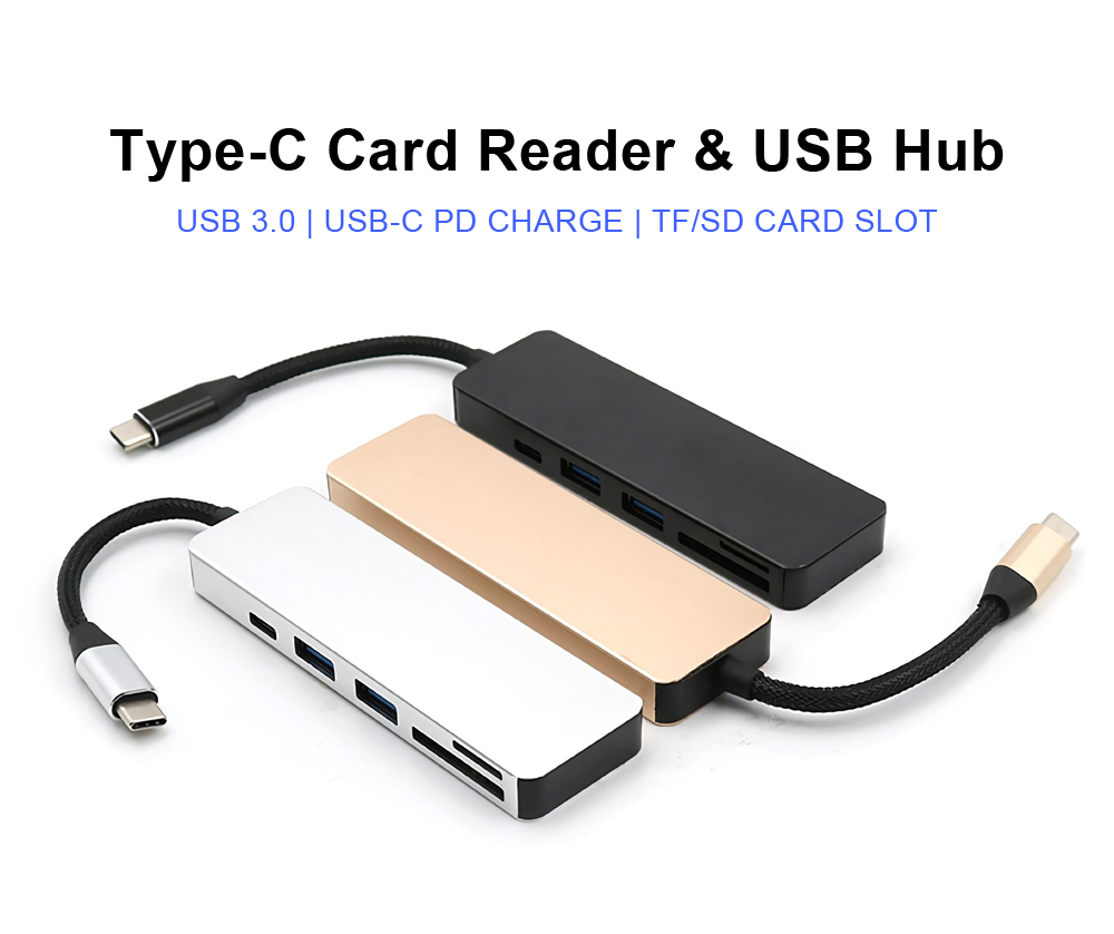5-in-1 Type-C to 2-Port USB 3.0 Type-C PD Charge Hub SD TF Card Reader Support OTG Function