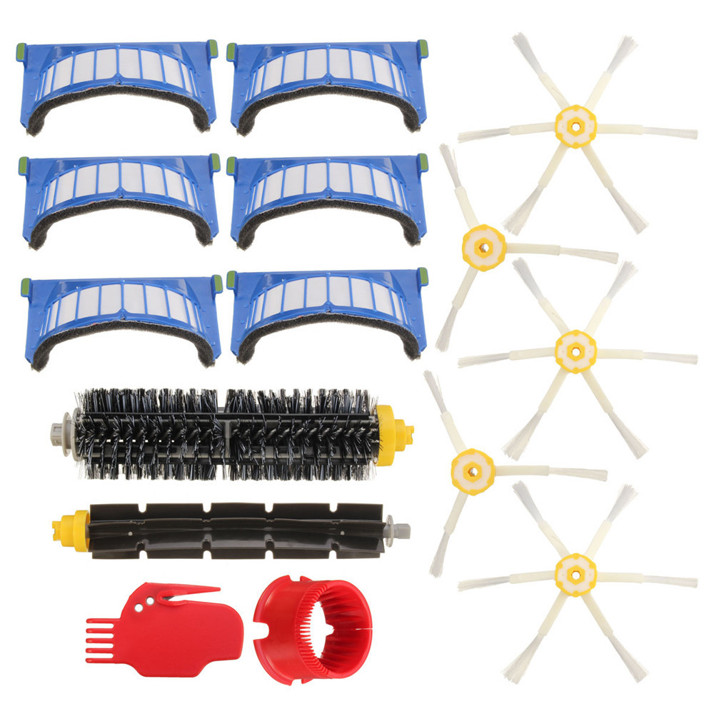 15pcs Vacuum Cleaner Accessories Kit Filters and Brushes for iRobot Roomba 600 Series