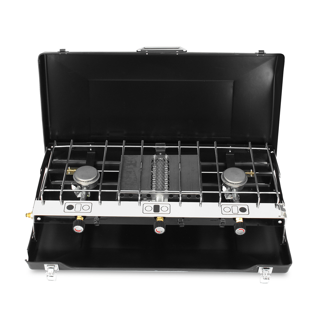 Portable Tabletop Dual Burner Heater BBQ Gas Stove Grill Cooker for Outdoor Picnic Camping