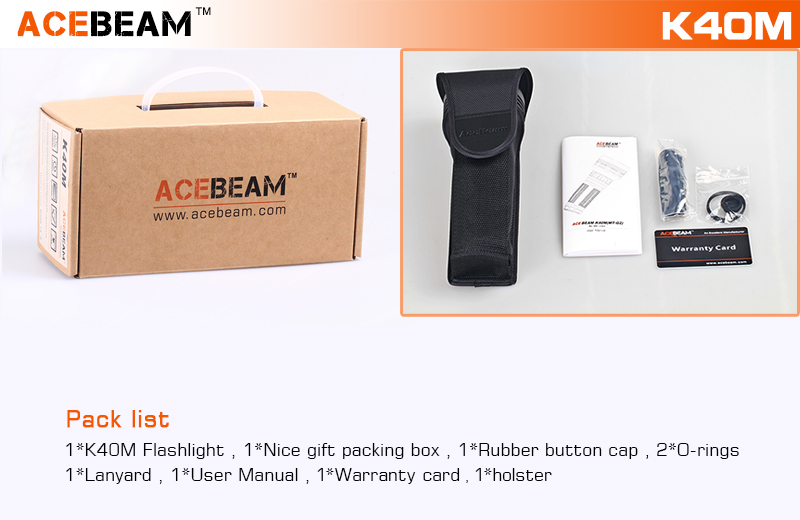 Acebeam K40M MT-G2 Q0 3000Lumens 7Modes Zoomable Tactical LED Flashlight 3*18650