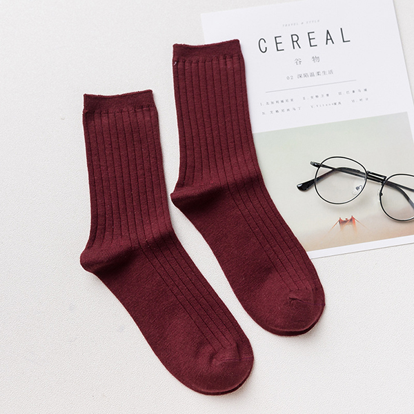 Men Cashmere Wool Solid Color Socks Thick Winter Warm Middle Tube Socks