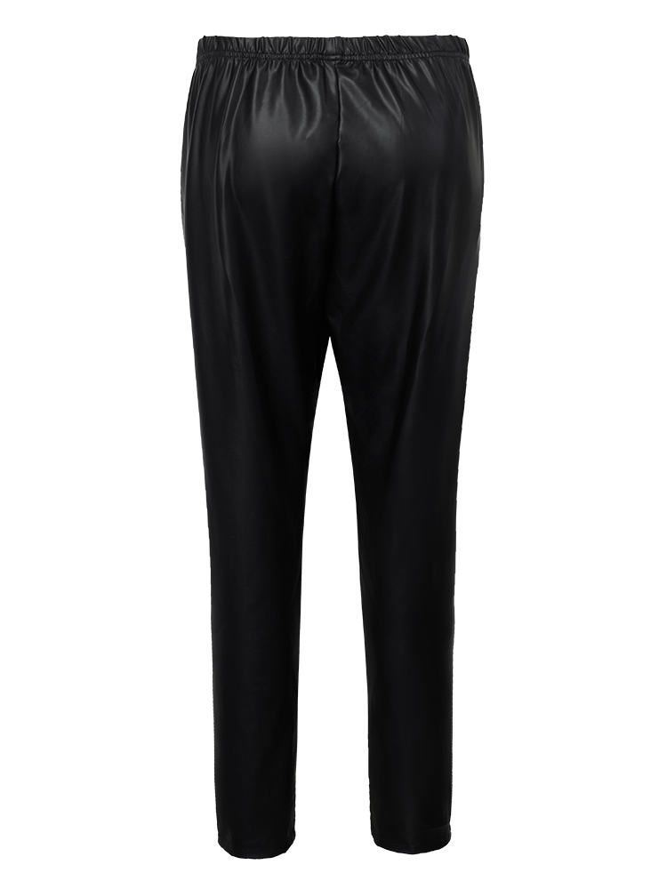 Casual Slim Black PU Women Leggings Pencil Pants