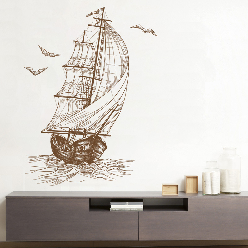 Sketch Sailboat Living Room Video Wall Decoration Bedroom Children Room Wall Stickers 40*60CM