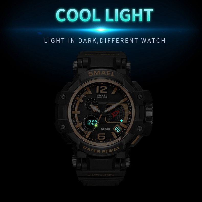 SMAEL 1509 Luminous Dual Display Digital Watch Waterproof Male Calendar Outdoor Sport Watch