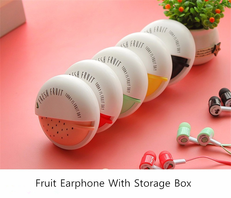 Macarons Fruit Patern Storage Box In-ear Earphone Headphone with Mic for Samsung S8 iPhone X Xiaomi