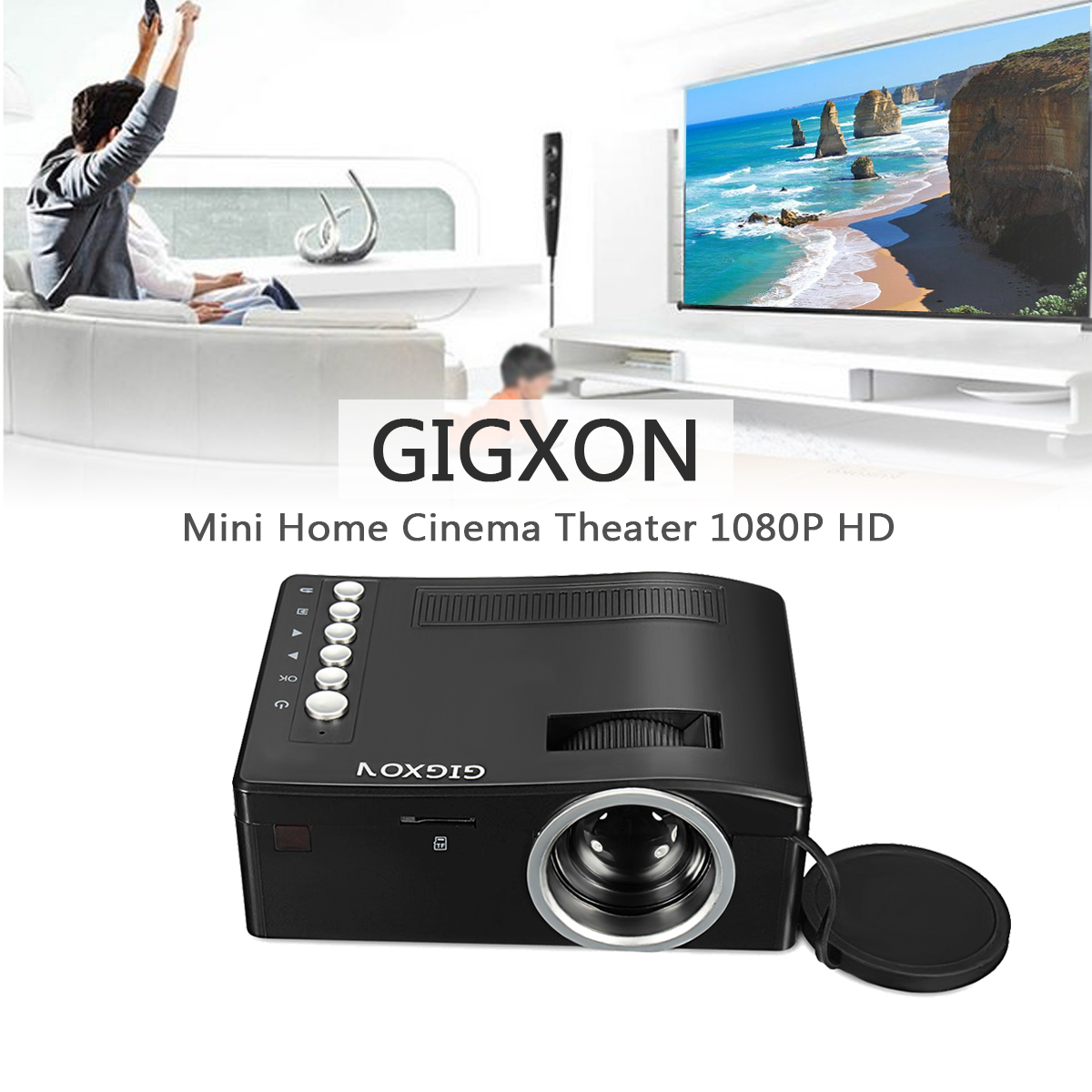 Gigxon G18 LED 1080P 50 Lumens 320x180 Home Theater Mini Portable Projector HDMI AV USB SD TF