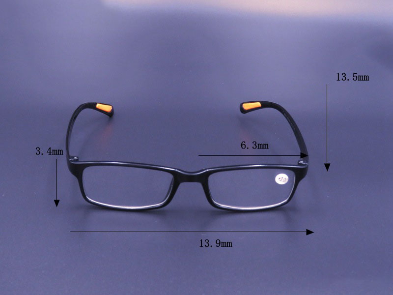 KCASA TR90 Resin light Weight Black Reading Glasses