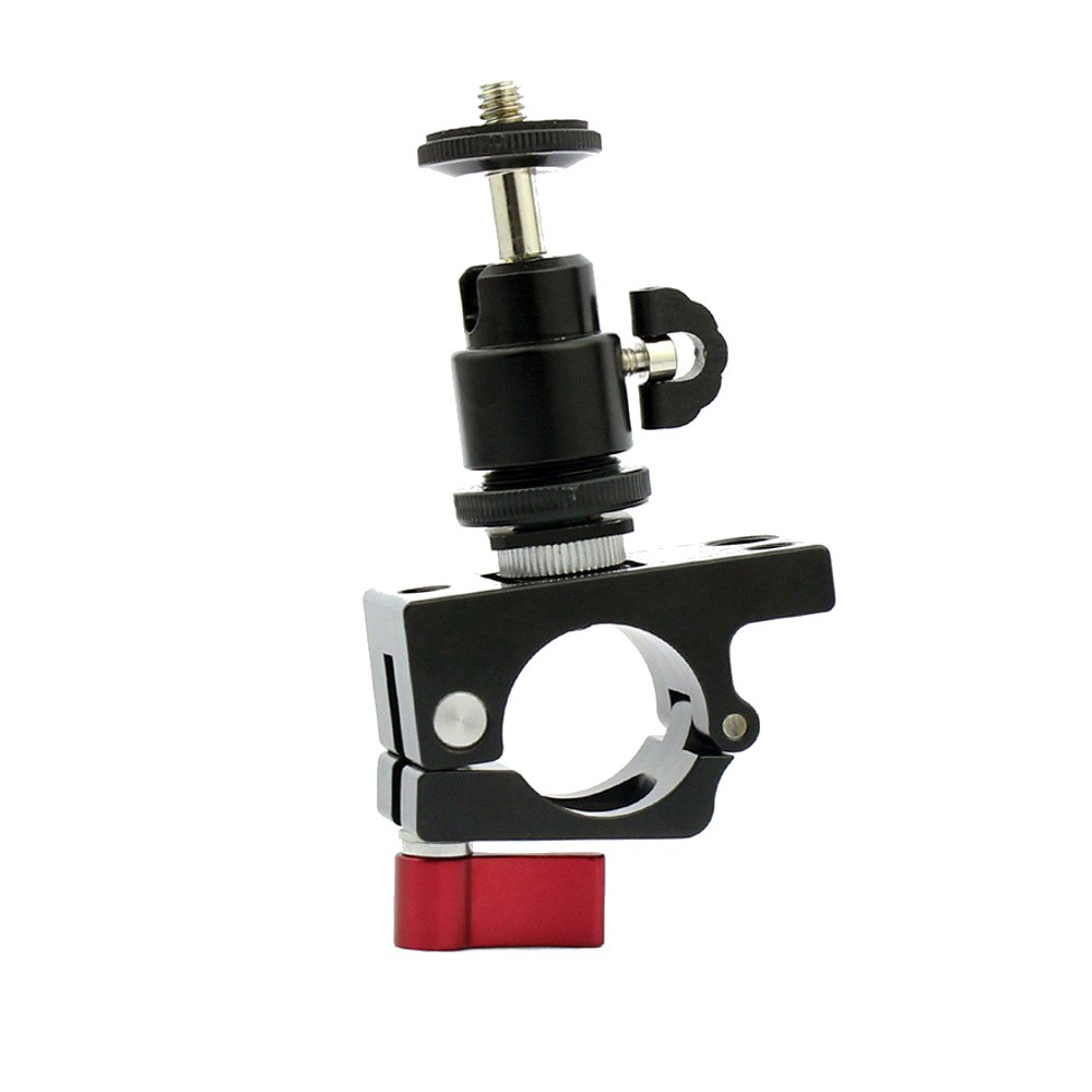 1/4 Screw Hot Shoe Ball Head Gimbal With 25mm-27mm Tube Clamp Clip Monitor Holder For DJI Ronin-M - Photo: 2