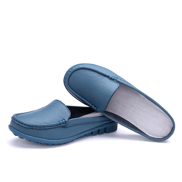 US Size 5-11 Summer Women Slip On Flat Leather Slipper