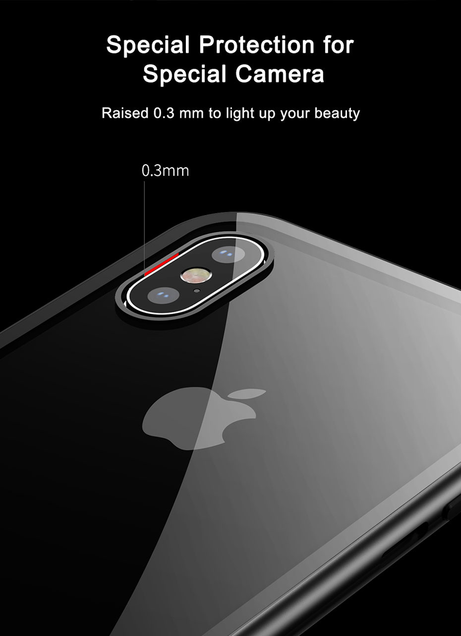 Baseus Clear Magnetic Adsorption Aluminum Alloy Tempered Glass Protective Case For iPhone XS