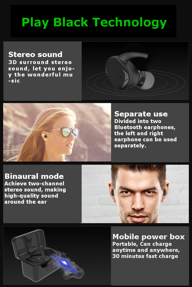 [Wireless Charging]Touch Control Hifi Stereo Mini Wireless bluetooth Earphone With Charging Box