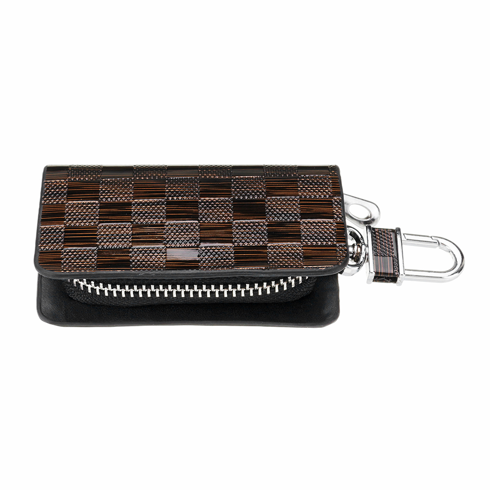 Universal Genuine Leather Car Key Case/Bag Zipper Organizer Check Grid Styling Protector Cover