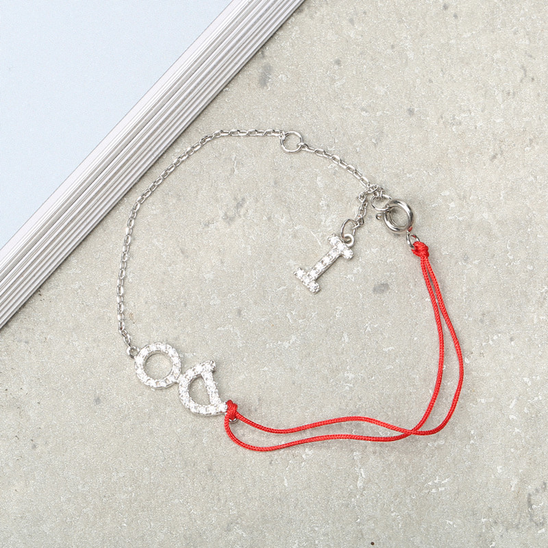 JASSY® Red Rope Sterling Silver Sweet Dazzling Bracelet