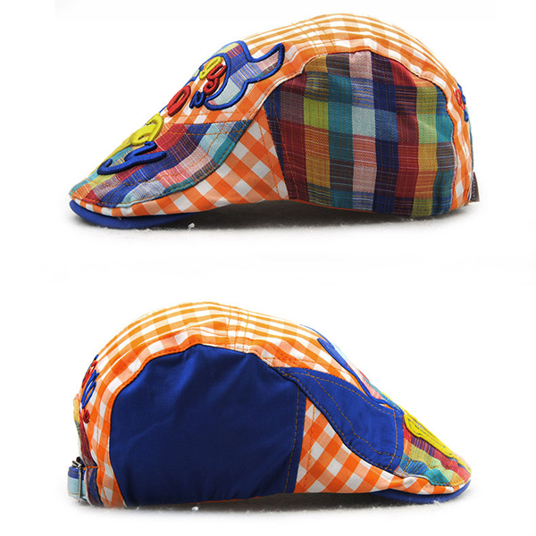 Kids Boys Girls Letter Grid Cute Berets Hat Flat Cap Children Casual Outdoor Visor Gorras