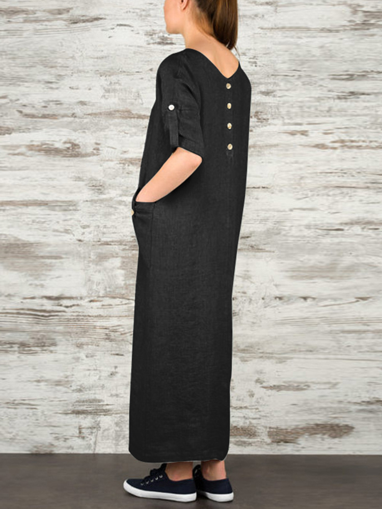 Women Elegant Pure Color Crew Neck Button Back Long Dress
