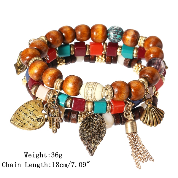Charm Multilayer Tassel Bracelets Leaf Anchor Bracelet