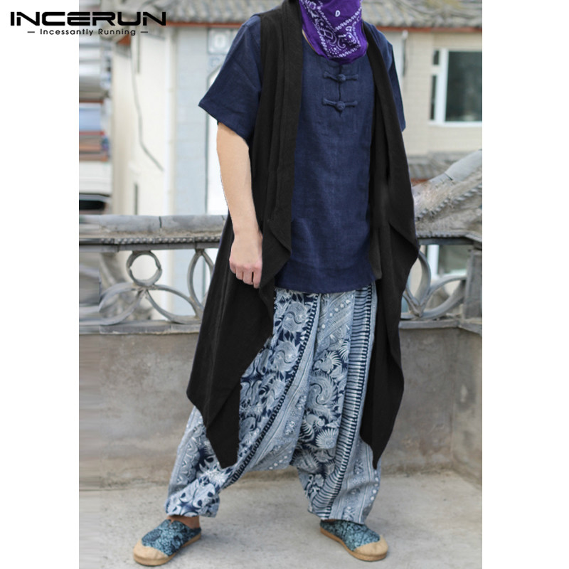 INCERUN Casual Vest Cloak Irregular Loose Cardigan Coats