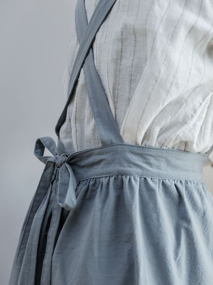 Japanese Cotton Linen Pure Color Crossback Aprons Dress
