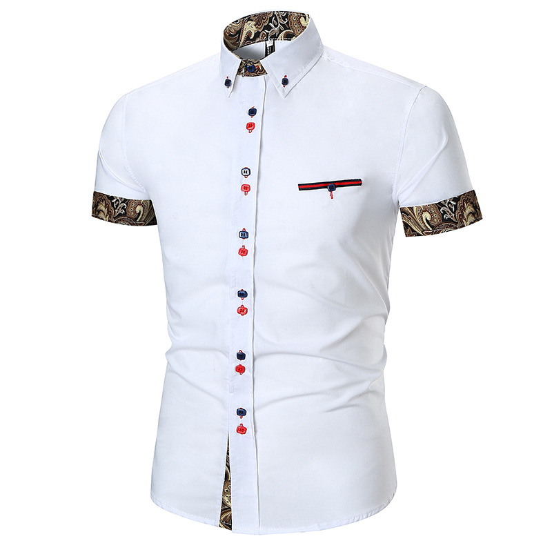 Mens Casual Printing Splice Slim Button Stitching Color Desi