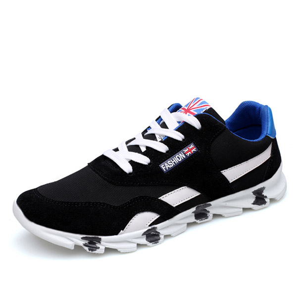Men Sport Shoes Outdoor Flat Fashion Casual Breathable Lace-Up Mesh Athletic Shoes