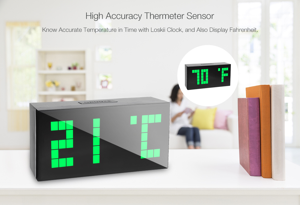 Loskii HC-301 Electronic Creative LED Dot Design Digit Cube Thermometer Date Snooze Function Alarm Clock