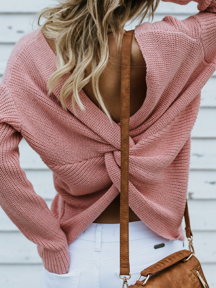 Women Sexy Backless V Neck Solid Color Knitting Sweaters