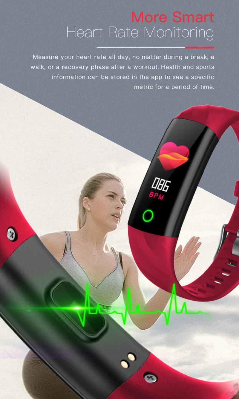 XANES X8 0.96in Color Screen IP68 Waterproof Smart Bracelet Heart Rate Blood Pressure Monitor Smart Watch Wristband