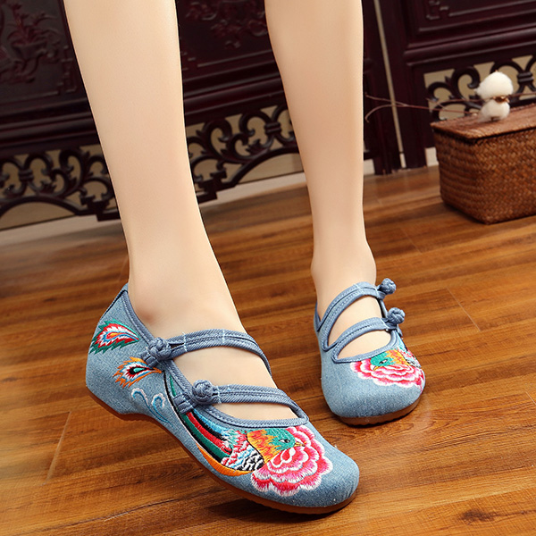 Women Embroidery Retro Flat Loafers