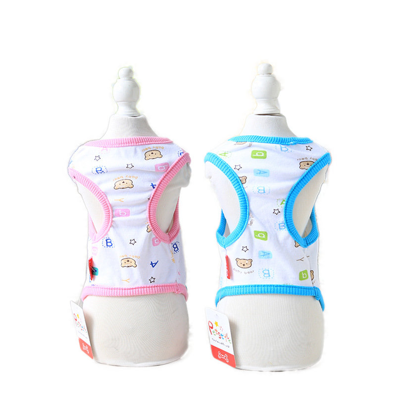 Cute Dog Vest Summer Cotton Cartoon Teddy Dog Vest Puppy Clothes Pet T-shirt