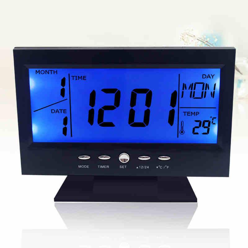 Voice Control Back-light LCD Alarm Clock Weather Monitor Calendar With Timer Sound Sensor Temperature Decor Desktop Table Clock