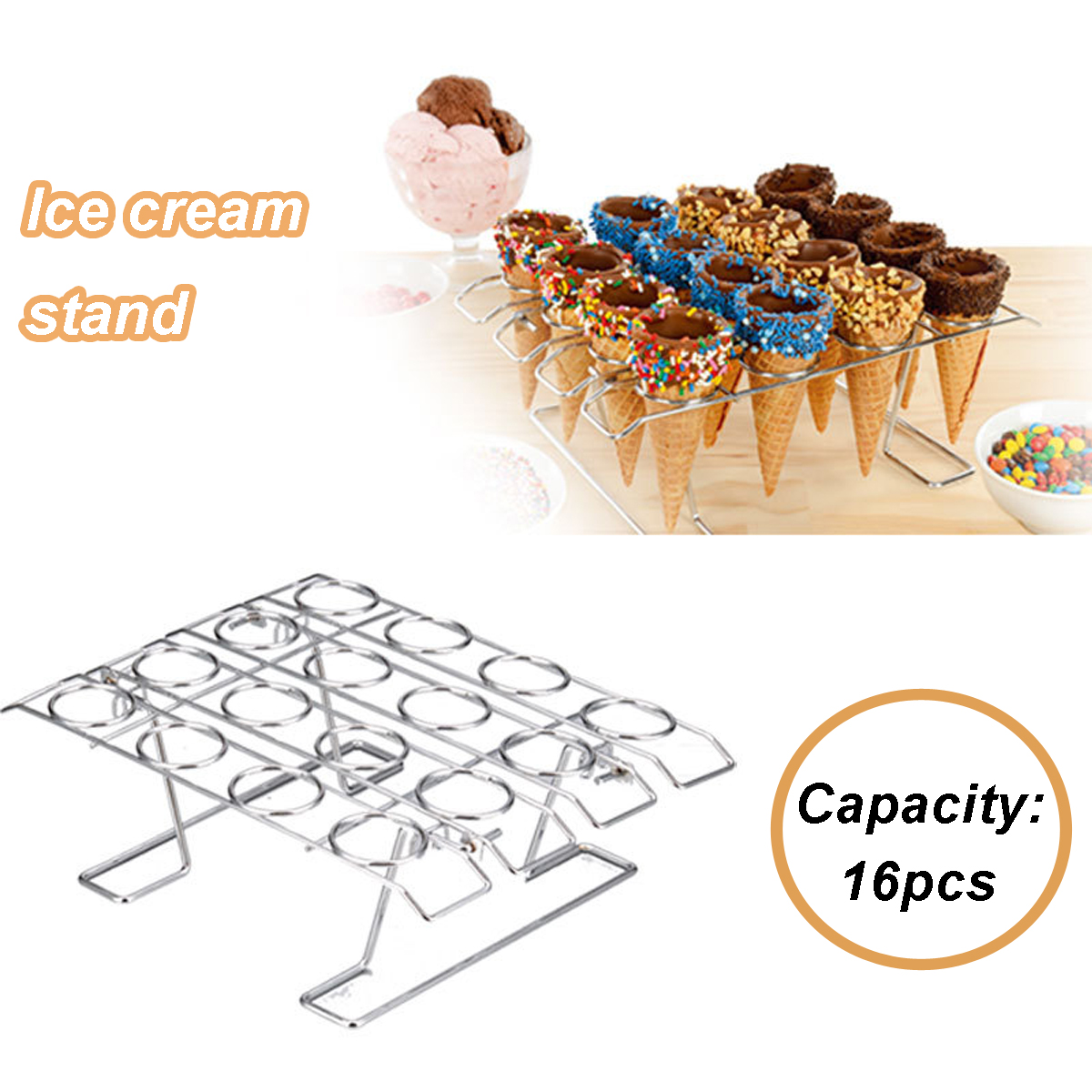 Cupcake Cone Baking Rack Cake Ice Cream Cone Iron 16-Cavity Baking Decorating Holder Stand Cooling