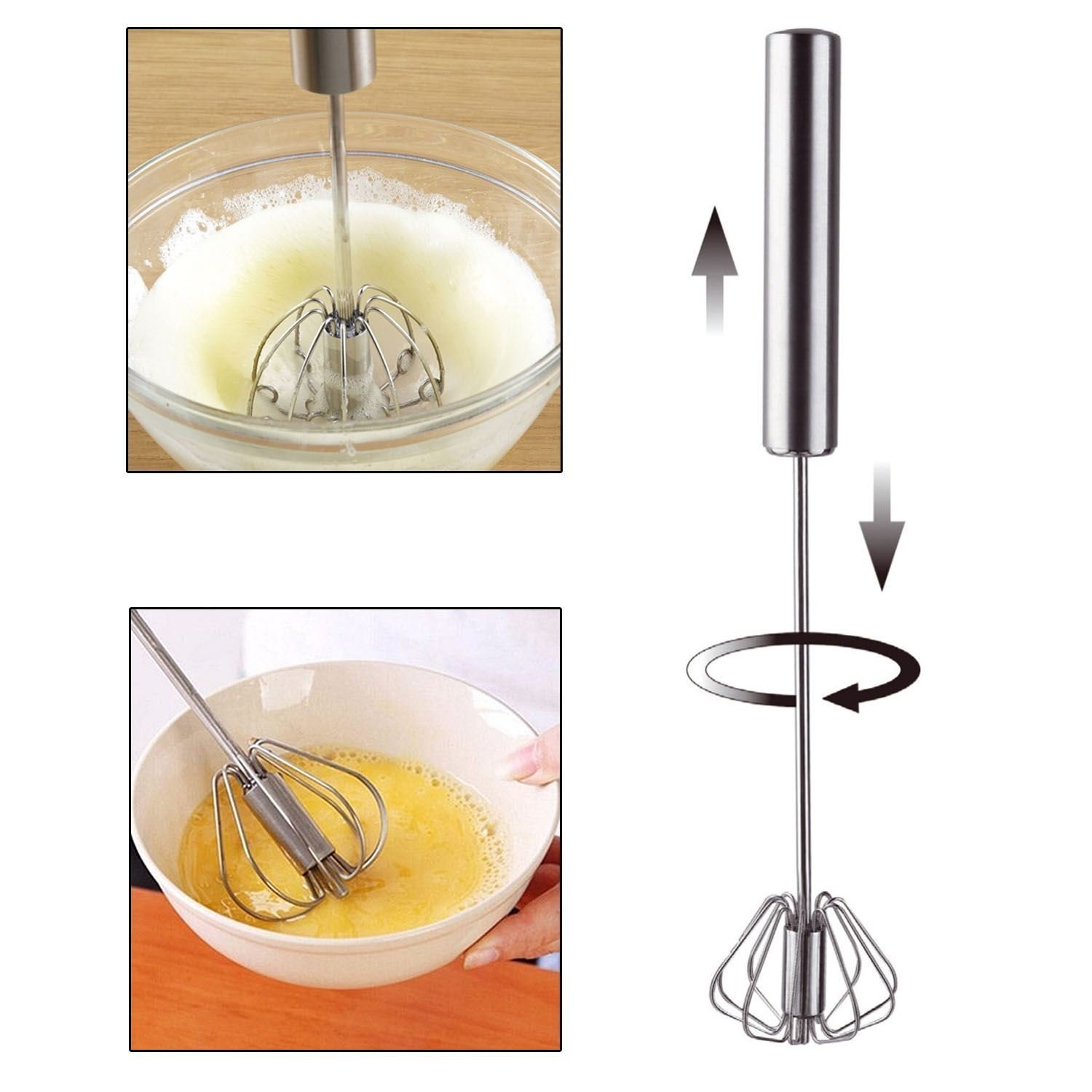 KCASA KC-EW089 Stainless Steel Semi-automatic Whisk Egg Beater Mixer Stirrer Foamer Kitchen Tools