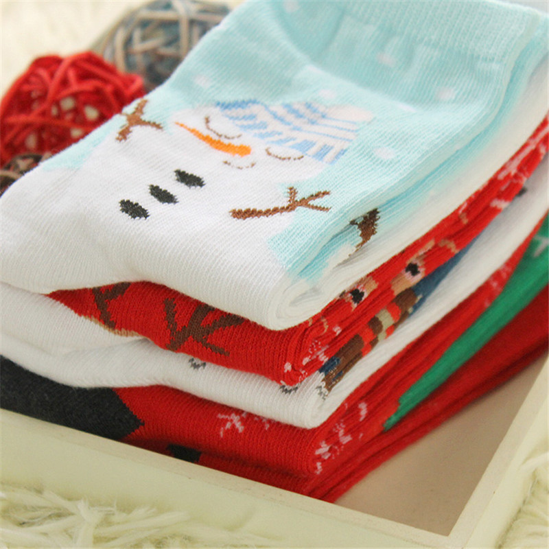 Women Ladies Cute Christmas Snowflake Snowman Deer Socks Cartoon Pattern Cotton Blend Long Sox