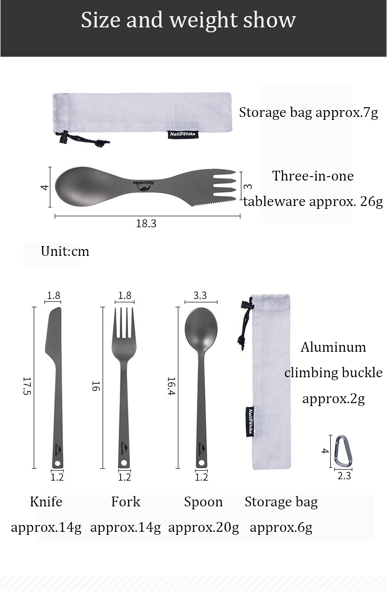 Naturehike NH19T011-D 3 In 1 Portable Tableware Titanium Alloy Picnic BBQ Fork Spoon Cutter