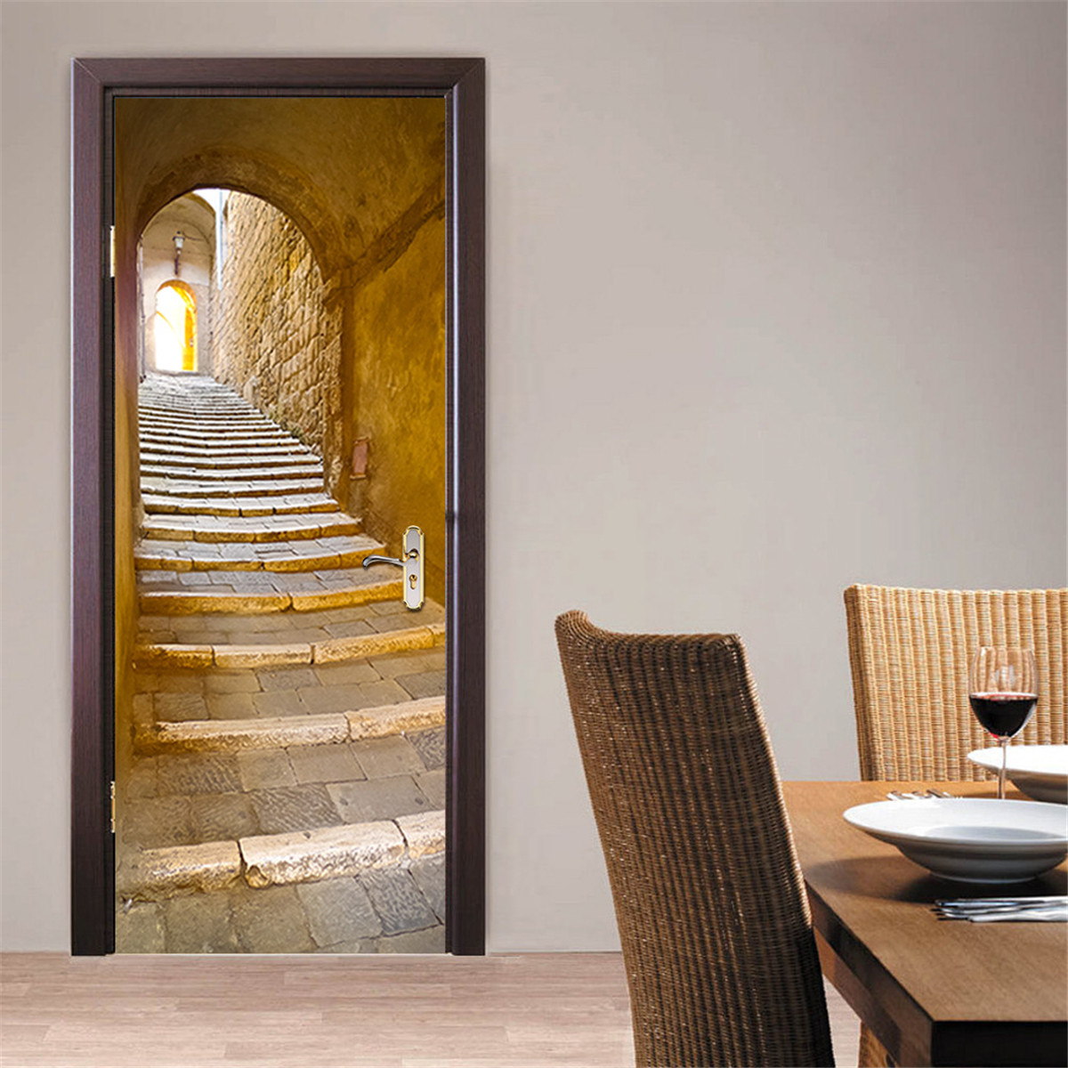 200X77CM 3D Creative Stairs Passage PVC Self Adhesive Door Wall Sticker Living Room Mural Decor