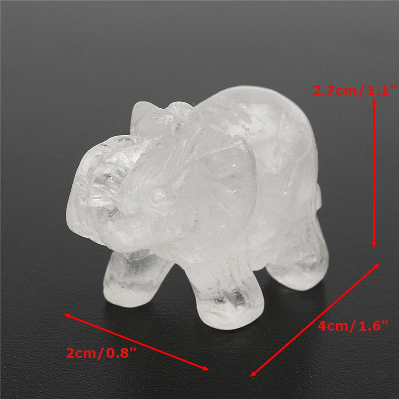 Natural White Crystal Aventurine Stone Lucky Elephant Feng Shui Statue