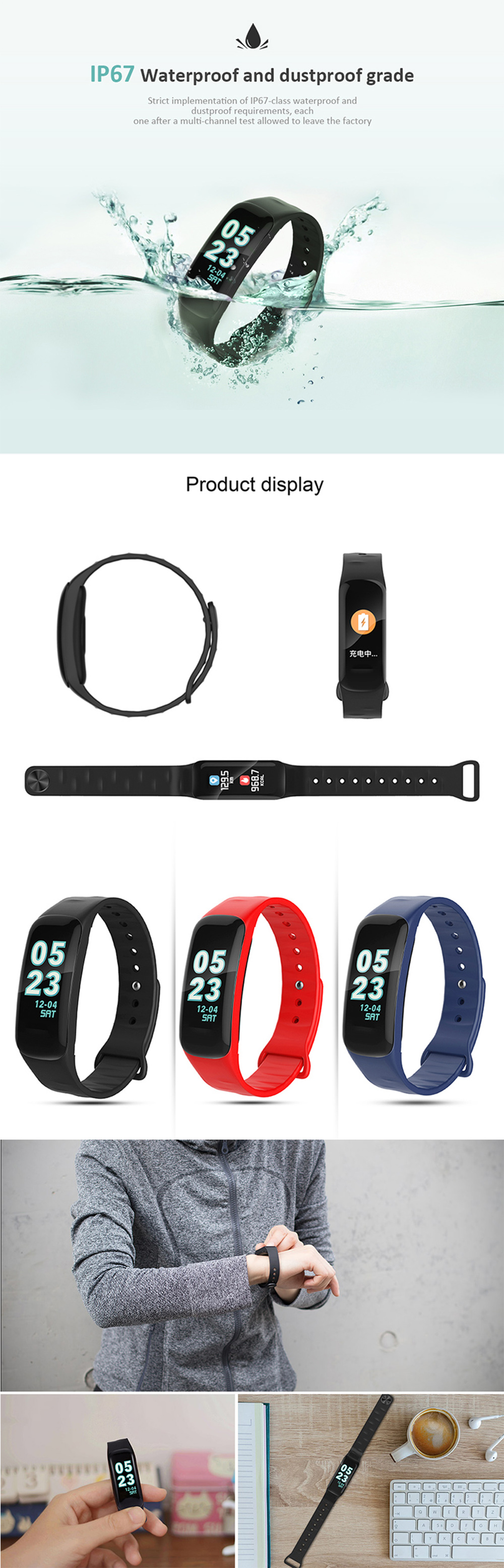 F602 HRBlood Pressure Monitor Fitness Checker Smart Bracelet