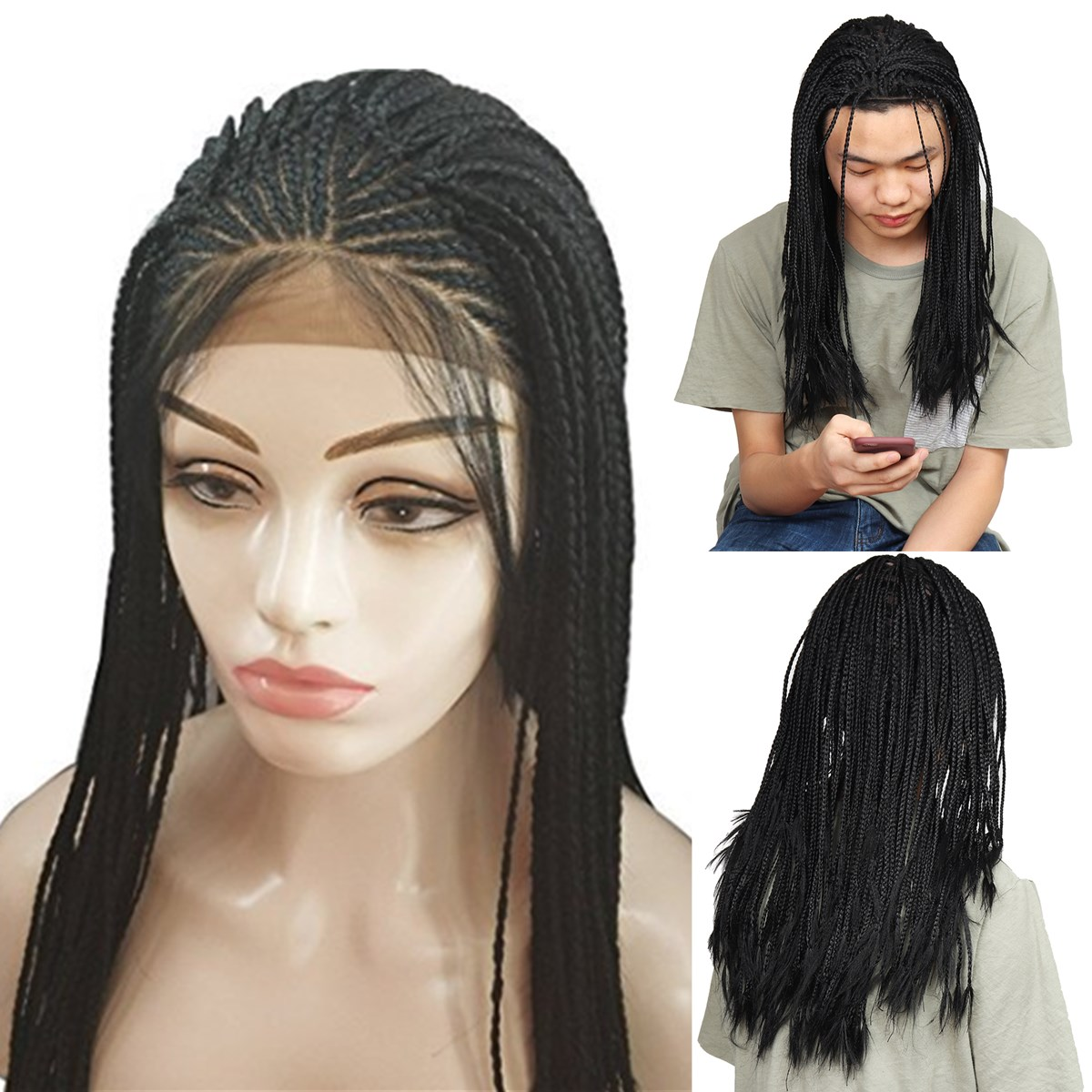 Lace Front Wig Synthetic Fiber Hair Black