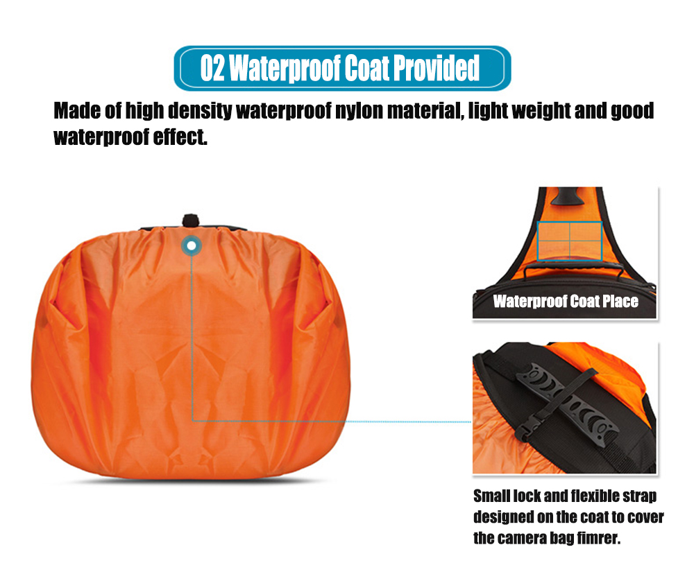 HUWANG 8019 Universal Waterproof Large Capacity Triangular Camera Bag DSLR Backpack