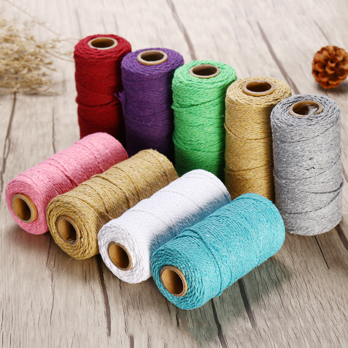 2MM Macrame Rustic Rope Colorful Cotton Twisted Cord String DIY Wedding Decor Supplies